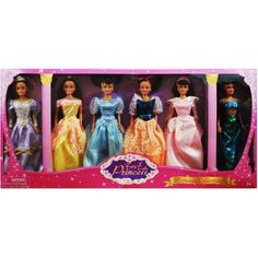 Princess Gift Set Doll, African American, 6-Pack, 11.5 inch, Multicolor