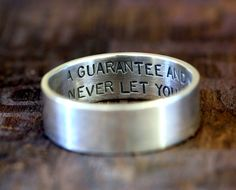Mens wedding ring with inside message