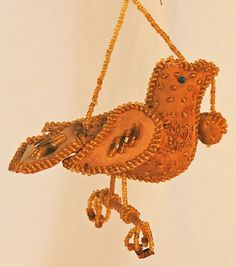 Early 20th Century Iroquois Beaded Bird Pin Cushion Whimsey from asgoodasold on Ruby Lane