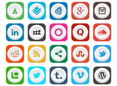 These 40 free social media icons are designed in Adobe Illustrator. You can freely use these icons in your upcoming projects.