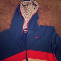 Nike hoodie (thin) Great condition, too small for me now. Has holes for your thumbs on sleeves. Great for keeping cool while running! Would consider trading for other Nike apparel. Nike Jackets & Coats
