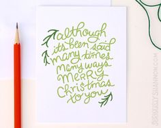 """Cute Holiday Card """"Merry Christmas to you"""" Greeting Card by seriouslyshannon on Etsy $4.50"""