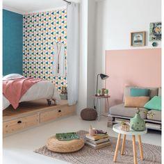 Papier peint Triangles rose/bleu - collection Tonic de Casélio : Papier peint chambre, Chambre d'enfant, entrée, pièce à vivre