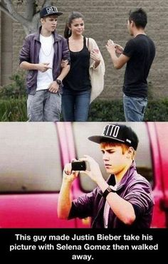 Bravo! This guy is a real genius.--This guy made Justin Bieber take his picture with Selena Gomes then walked away.