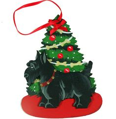The Christmas Tree Dog Wood 3-D Hand Painted Ornament - Scottish Terrier Scottie Dog