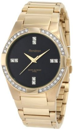 Armitron Men's 20/4748BKGP Swarovski Crystal Accented Gold-tone Stainless-Steel Bracelet Watch Armitron. $59.99. Round stainless-steel case with polished gold-tone finish. Gloss black dial with 4 double-crystal set markers at 3, 6, 9 & 12 hour indexes. Water-resistant to 165 ft.. Bezel set with 36 clear Swarovski Crystals. Adjustable link bracelet with polished gold-tone finish