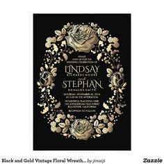 """Black and Gold Vintage Floral Wreath Wedding Card Black and gold vintage flowers elegant wedding invitations. --- All design elements created by Jinaiji - --------------------------------------- DESIGN YOUR OWN INVITATION: ------------------------------------------------ 1. Just hit the """"CUSTOMIZE IT"""" button and you will be able to change the font type, color, and size, along with a number of other things. 2. Before you click """"Done"""", make sure the image is sized properly. Use the """"Fill"""" or…"""