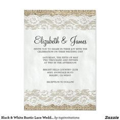 Black & White Rustic Lace Wedding Invitations