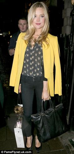Laura Whitmore - love the print sheer blouse and pop of mustard.