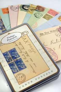 Cavallini Vintage Postcards - 18 cards $10.99  Travel theme - send with invitation for guest to use as RSVP :)