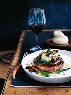 scotch fillet steak with sage salt, mushrooms and burrata (buffalo mozzarella)  Skip burrata to make it paleo.