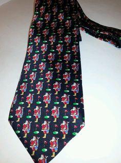 St Nicks Tie Shop Mens Neck Tie Christmas Santa Playing Golf 100% Silk EUC #StNicksTieShop #NeckTie