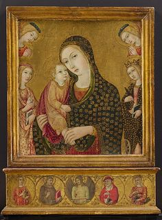 Madonna and Child with the Dead Christ, Saints Agnes and Catherine of Alexandria, and Two Angels, 1470-80 by Sano di Pietro [Ansano di Pietro di Mencio] (Italian, Siena 1405–1481 Siena)