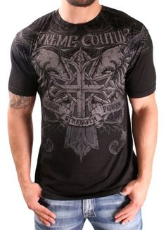 """Xtreme Couture Prehistoric Men's Cotton S/S T-Shirt Black Size L - Xtreme Couture started in 2006 with the collaboration between Affliction clothing and UFC veteran Randy """"The Natural"""" Couture utilizing his name to represent both designer apparel and"""