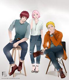 Naruto, Sakura, Sasori by Arai14