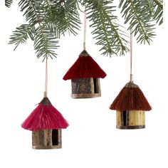 These fair-trade African hut ornaments were hand-crafted by Kenyan artisans. The ornaments are small African huts of different red and pink tones. Red And Gold Christmas Tree, Xmas Tree, Xmas Wreaths, Christmas Tree Decorations, Table Decorations, Christmas Crafts, Christmas Ornaments, Christmas Ideas, Christmas Stuff