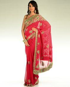 Embroidered Crimson Red Sari