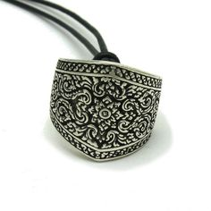 Sterling Silver Ring Solid 925 Floral Band Henna Style pendant