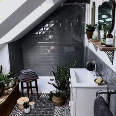 If you have a small bathroom in your home, don't be confuse to change to make it look larger. Not only small bathroom, but also the largest bathrooms have their problems and design flaws. Loft Bathroom, Bathroom Flooring, Bathroom Grey, Master Bathroom, Bathroom Mirrors, Small Dark Bathroom, Bathroom Faucets, Bathroom Plants, Bathroom Towels