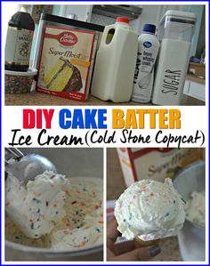We All Scream for This Homemade Cake Batter Ice Cream! We All Scream for This Homemade Cake Batter Ice Cream! Ice Cream Treats, Ice Cream Desserts, Köstliche Desserts, Frozen Desserts, Dessert Recipes, Frozen Treats, Cold Stone Creamery, Cold Stone Cakes, Kitchen Aid Ice Cream