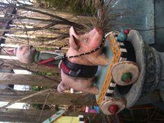 Santa rides a pig, by Mary-Lynne Moffatt
