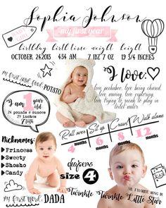 GRAN medida diseñada un año bebé infografía por CreativeLittleCloud
