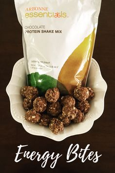 No Bake Chocolate Protein Energy Bites. Ingredients:  2 scoops Arbonne Protein shake mix, 2 cups of dry oats, 1cup ground flaxseed, 1/3 cup coconut (optional), 1 cup almond butter, 2/3 cup honey and 2/3 cup mini chocolate chips. Directions: mix all ingredients into a medium sized mixing bowl and roll into balls. I suggest serving chilled.  Enjoy. Get your Arbonne Protein Powder at www.arbonne.com/...