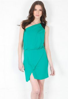 Mason By Michelle Mason One Shoulder Dress with Leather Trim in Green/Black  $335