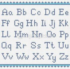 Uppercase And Lowercase Stock Vector - Illustration of embroider, embroidered: 47863577 Cross Stitch Alphabet Patterns, Cross Stitch Letters, Letter Patterns, Cross Stitch Borders, Cross Stitch Baby, Cross Stitching, Cross Stitch Embroidery, Stitch Patterns, Fancy Letters