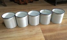 Vintage Old 5 White Blue Enamel Home Utilize Porcelain Box Pot Without Lid
