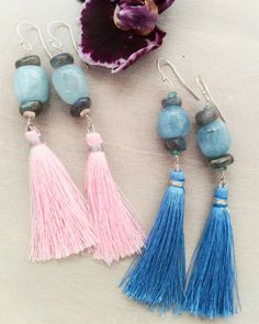 Boho Aquamarine Sterling Silver Earrings by EmeraldDesignJewelry