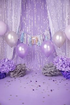 Set of 2 Lavender/ Purple Glitter/Silver Princess Birthday Setup Digital background/Digital backdrop with balloons Sweet 16 Party Decorations, Sweet 16 Themes, Quince Decorations, Purple Birthday Decorations, Party Decoration Ideas, Glitter Party Decorations, Balloon Decorations, Quinceanera Decorations, Quinceanera Party