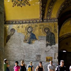 Mosaic of the Deesis, 12th Century, Hagia Sophia, Istanbul... Obviously, the icons have almost been completely obliterated by the Turks, but it is still beautiful.
