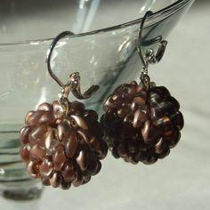 Brown SuperDUO earrings balls :-)