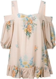 Alexander McQueen cold shoulder floral blouse