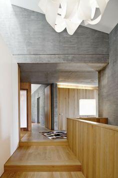 grey cement walls blonde wood - house ampudrán - girona spain - b720 fermín vázquez arquitectos - photo by adriá goula
