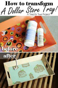 Transform a dollar store tray! Use Martha Stewart Decopage to transform a cheap tray! Diy Projects To Try, Crafts To Do, Home Crafts, Craft Projects, Craft Ideas, House Projects, Diy Ideas, Decor Ideas, Foto Transfer