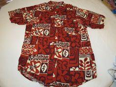 Mens Duke Kahanamoku Hawaiian shirt button up short sleeve M rayon reds EUC @ #DukeKahanamoku #ButtonFront