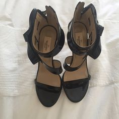 SALE: Valentino Bow Sandals Black patent leather beautiful strapped sandals with zipper. Worn once. Valentino Shoes Sandals