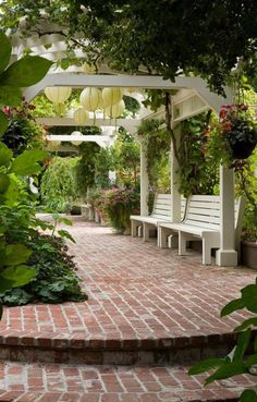 Brick path and steps leading to pergola covering benches in organic California g. Brick path and s Patio Fence, Backyard Pergola, Pergola Shade, Backyard Landscaping, Pergola Roof, Pergola Kits, Landscaping Ideas, Back Gardens, Outdoor Gardens