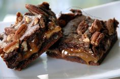 Gooey Caramel and Pecan filled Brownies.
