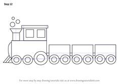 Learn To Draw Learn How to Draw a Train for Kids (Trains) Step by Step : Drawing Tutorials Easy Drawings For Kids, Drawing For Kids, Painting For Kids, Art For Kids, Simple Drawings, Drawing Lessons, Drawing Tips, Art Lessons, Drawing Tutorials