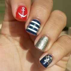 Nautical nail art ===== Check out my Etsy store for some nail art supplies https://www.etsy.com/shop/LaPalomaBoutique