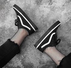 $70 Monochrome Grunge Skater Girl Outfit Black And White Small Platform Sneakers With Black Ripped Frayed Jeans And Fishnet Tights