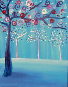 Winter Wonderland Pinots Palette • Acrylic Canvas Painting