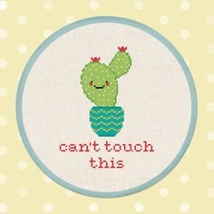 +This item is available for instant digital download* A happy and cute Cant touch this cactus cross stitch pattern to personalize your belongings or adorn on your walls. They also make fantastic gifts for your beloved ones. Skill level: Beginner Suggested Fabric: 14 ct. aida Finished