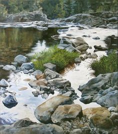 Northwest artist Tom Wheeler, realistic Oil Paintings of Rivers and water Watercolor Water, Watercolor Landscape, Watercolour Painting, Landscape Art, Landscape Paintings, Watercolours, Nature Paintings, Beautiful Paintings, Oil Paintings