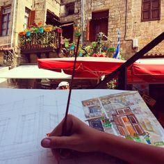 """""""painting in Rhodes with @zawijaski #wip #workinprogress #holidays"""""""