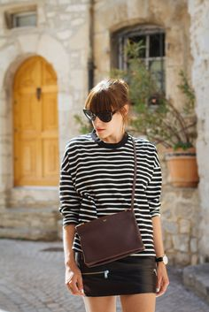 Leather and stripes | On High Heels