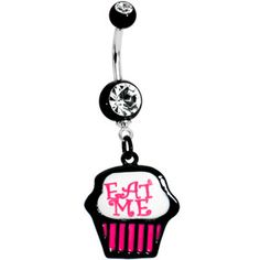 Eat Me Cupcake Dangle Belly Ring Belly Button Piercing Jewelry, Bellybutton Piercings, Navel Piercing, Body Piercings, Cute Belly Rings, Dangle Belly Rings, Belly Button Rings, Cute Jewelry, Body Jewelry